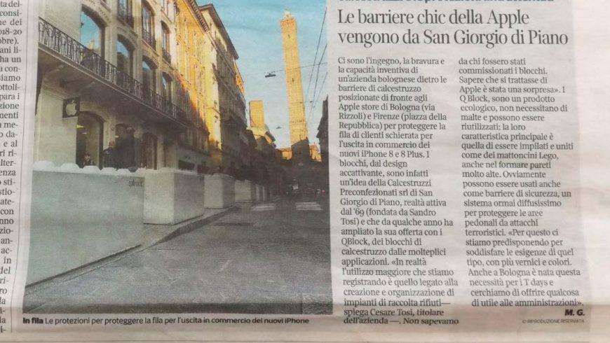 Corriere di Bologna – Le barriere chic della Apple vengono da San Giorgio di Piano