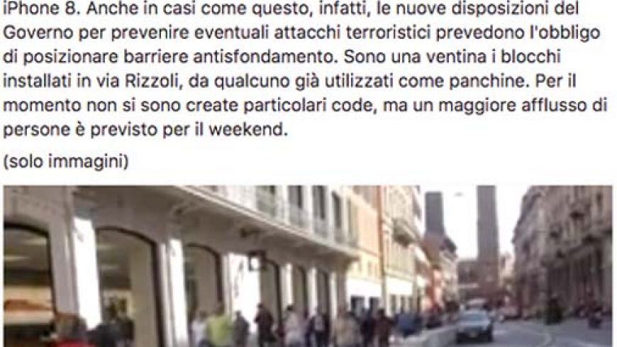Ètv – Barriere di cemento davanti all'Apple Store