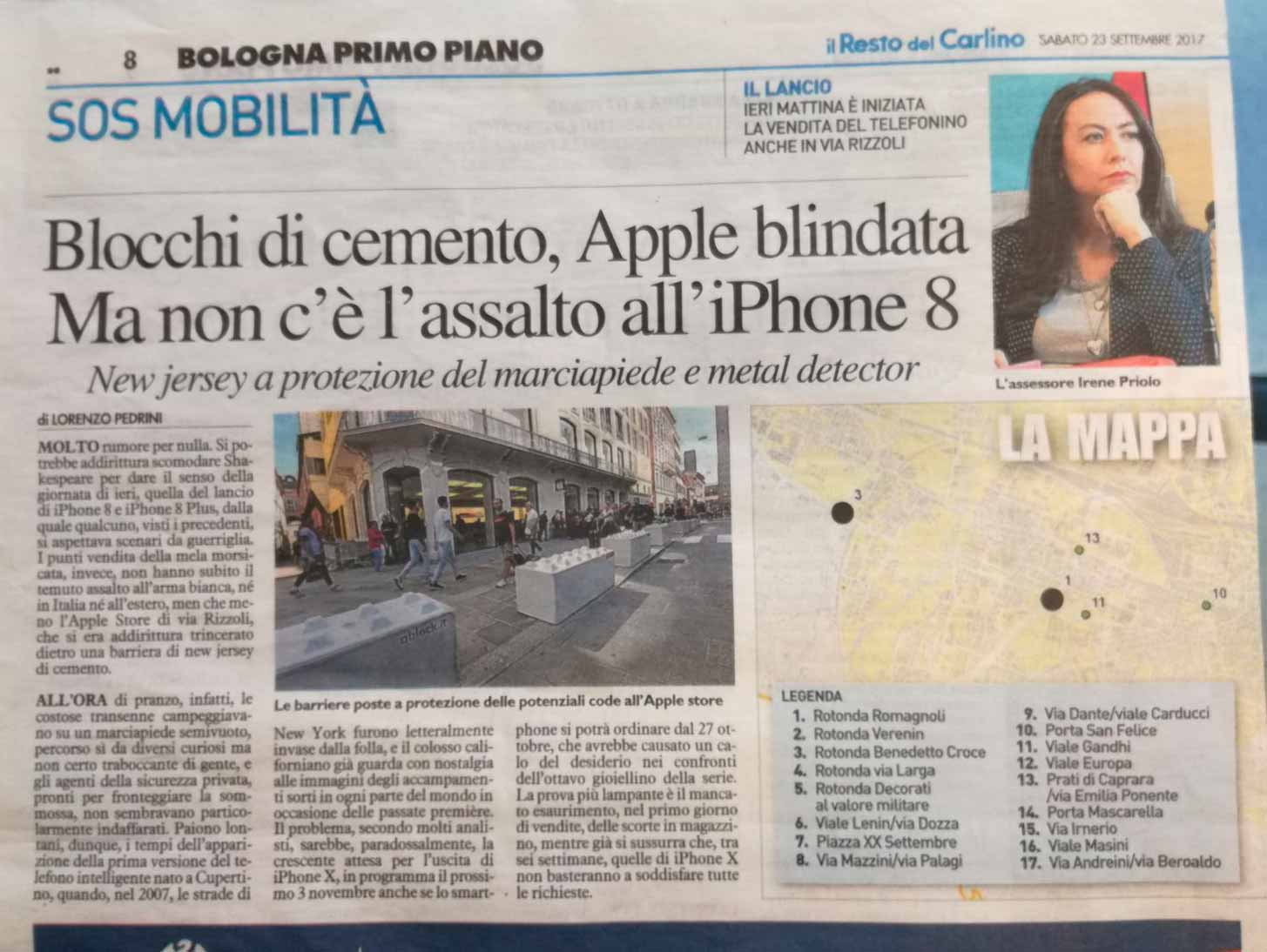 Il Resto del Carlino – Blocchi di cemento, Apple blindata