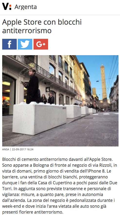 Virgilio – Apple Store con blocchi antiterrorismo