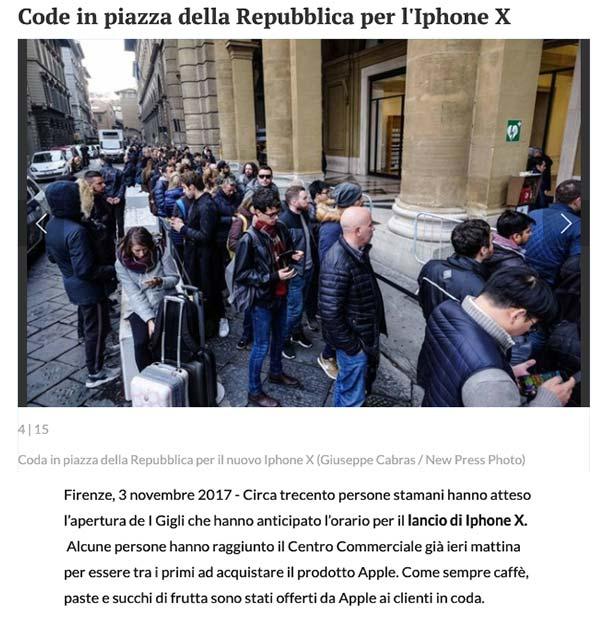 La nazione – Uscita dell'Iphone X